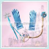 Fashion design elsa gloves wholesale gloves elsa fancy dress accessory birthday gift elsa tiara crown+wand+gloves+wig 4pcs set