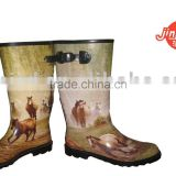 girl's printed rain rubber boots