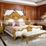 INQUIRY ABOUT Royal Place Gold Leaf Finished Full Solid Wood Carving Bed, Arabic Golden Style Bedroom Furniture(MOQ=1 SET)
