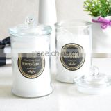 1000ml 500ml 200ml customed glass candle jar flat top glass Jar with glass lid glass candle jars and lids