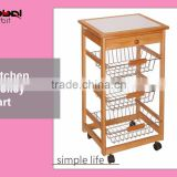 Home Furniture Wooden Dining Utility Cart Table Kitchen Trolley