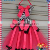 2013 Cute Flower Bow Holder Fashion Design Coral Cotton Tutu Bow Holder With Zebra Print Top