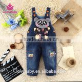 Baby Boy Cutting Bear Winter Sling Denim Trousers Korean Fashion Design Pants Fit 1-2-3T Kids