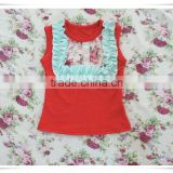 2017 Summer children clothing Baby Girls Cotton Tank Top Kids Baby Solid Color Ruffle Sleeveless Floral vest