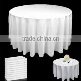 "White 120"" Round Tablecloth 100% Spun Polyester Fabric"
