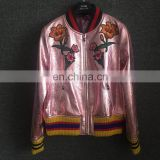 Wholesale Real Sheepskin Baseball uniform Metallic Pink Leather Jackets