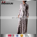 Modern Dubai Style Kebaya Shirt Islamic Dress Abaya Muslim Shirt Long Printing Abaya For Office Lady Latest Burqa Design