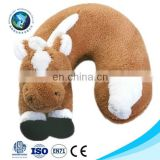 Promotional cute plush horse u shape baby neck pillow fashion custom plush memory foam neck pillow