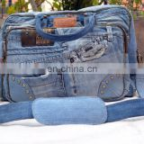 FABRIC DENIM MESSENGER BAG JEANS LOOK CROSS BODY UNISEX BAG