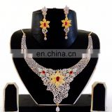 Indian CZ diamond bridal jewellery-indian ethnic wholesale jewellery-American Diamond Jewellery-Cubic Zirconia Necklace set