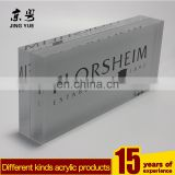 Cube acrylic block brick printed logo sign block holder, square solid block with braning logo