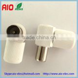 Plastic Coax Coaxial 90 Right Angle 9.5mm TV antenna Male Plug for TV pal iec Aerial Cables