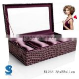 Fashion Shopping Gift Display Crocodile Pattern Faux Leather Wooden Watch Gift Packaging Box Bracelet Boxes W1268