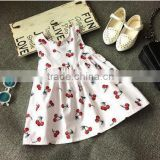 2016 cute children sweetheart halter vest top girl dress Cherry patterns pricess dress& dresses girls
