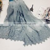 Wholesale Fashion Classic High Quality Plain Cotton Linen Ladies Muslim Embroidery Scarf