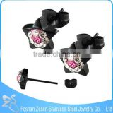 ZS20453 fashion design black anodized star shaped pink white cz stud earrings