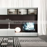 Wall Unit Modern Design White & Black Glass