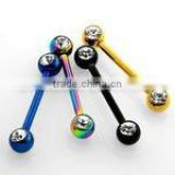Anodized nipple barbell with double jewel balls