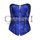 Overbust steel boned corset in blue satin with Zipper Ci-1114