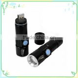 LED Zoom Aluminum Alloy Flashlight Torch Lamp 3 Modes Rechargeable USB Camping Flashlight