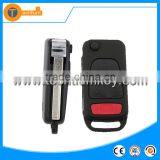 2 + 1 button flip remote key blank case shell fob with Panic button and 2 track blade for Mercedes Benz ML C Class AMG SL E500