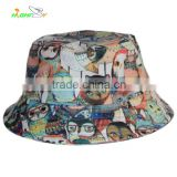 custom cotton twill fabric cool colorfully sublimation printed bird pattern logo bucket hat for hiking