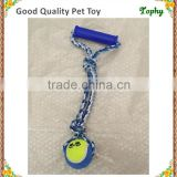 Pet Products Dog Tug Toys Clinch Hand Cotton Rope With Single Tennis Ball Dog Puppy clean Teeth Toys