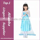 New 2015 hot sale child's baby kids Girl's Princess Queen Elsa Anna Cosplay Costume Fancy Dress