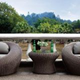 Garden furniture Single Sofa Table PE Rattan Wicker Stainless Steel Feet 5cm Cushion 5mm Tempered  Glass