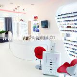Good quality glasses shop Hi Macs solid surface made display furniture for optical store design