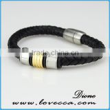 hot ! Metal Beads Wrap Bracelet on Black Leather Bracelet Woven /leather bracelet/woven wristband