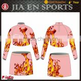 Red design summer custom cheerleading crop tops for girl, beautiful toddler glee cheerleading uniforms with custom make