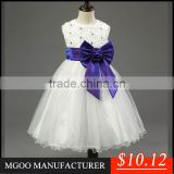 MGOO Six Colors Infant Girl Flowers Dress Six Colors Beaded Bow Back Ball Gown Christams Pageant Dress MGT037