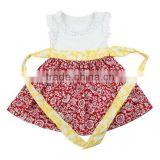 2015 frock design Chinese traditional girls ruffle cotton flower print 7 years old girls dress