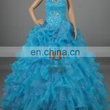 Newest!Eye-cathing Blue Prom Dresses HMY-E0034 Beaded Sparkling Ruffled &Layered Organza Ball Dress