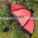Red kids wholesale lace umbrella with black Lace frills