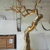 Customizable Large Outdoor or Indoor Golden Tree Stainless Steel Sculpture
