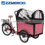 Motorized family cargo bike with rain cover