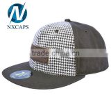 Top quality Fashion snapback hat with leather patch