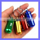 20ml Capacity 48mm Long Mini Cute Outdoor Gadgets Mini Metal Pill Box Bottle Novelty Keychain