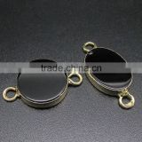 JF8544 new gold electroplated black onyx round oval charm connectors,2015 jewelry supplies