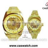 Cheap promotional products, gold skeleton couple watch, fashion mechanical skeleton watch,