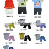 100% cotton interlock baby romper sets with cut embroidery