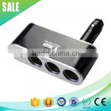 Best selling 12v 24v car cigarette lighter socket 3 way adapter