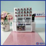 2016 Wholesale Acrylic Lipstick Tower Holder with Makeup Face Powder Dispaly / Spinning Lipstick Holder