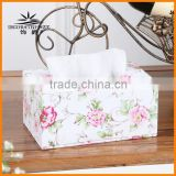Jazz upscale home decoration handmade leather rectangular tissue box pumping tray Home continental tissue storage box