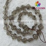 Flower Carved smoky quartz gemstone beads for unique jewelry making-Smoky Tone Rock Crystal Flower shape beads