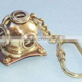 Antique Nautical Brass Polished Diving Helmet Key Chain