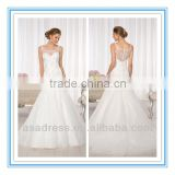 Large Floral Lace Appliques with Diamante Beading Throughout The Bodice and Drop Waist Ball Gown Wedding Dress 2014 (WDES-1050)