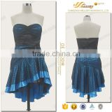 Blue & black fashion spot printed fabric strapless short vestidos de festa china